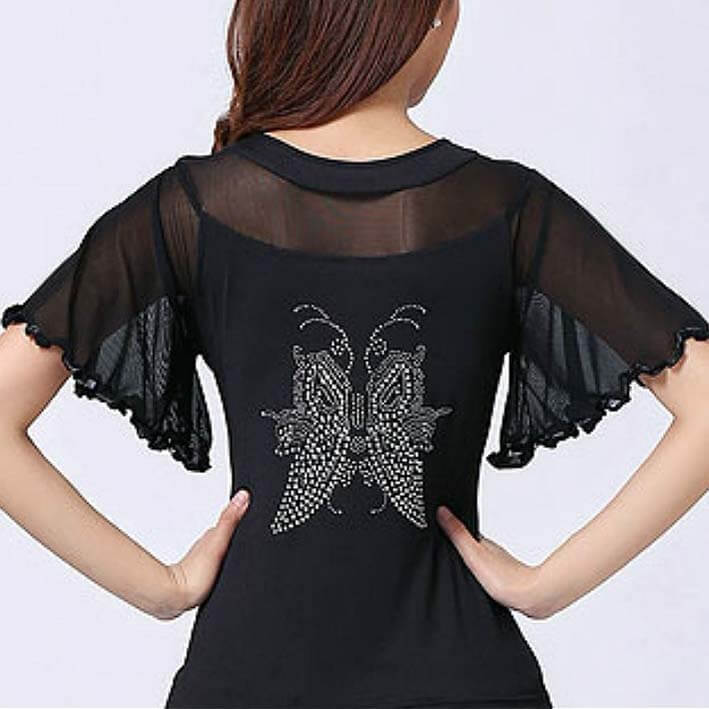 Diamond Flare Sleeve Ballroom Dance Top-Black