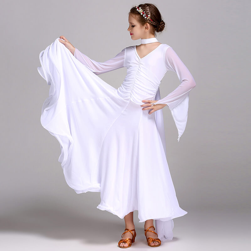 Flared Long Ballroom Dress with Ruffles