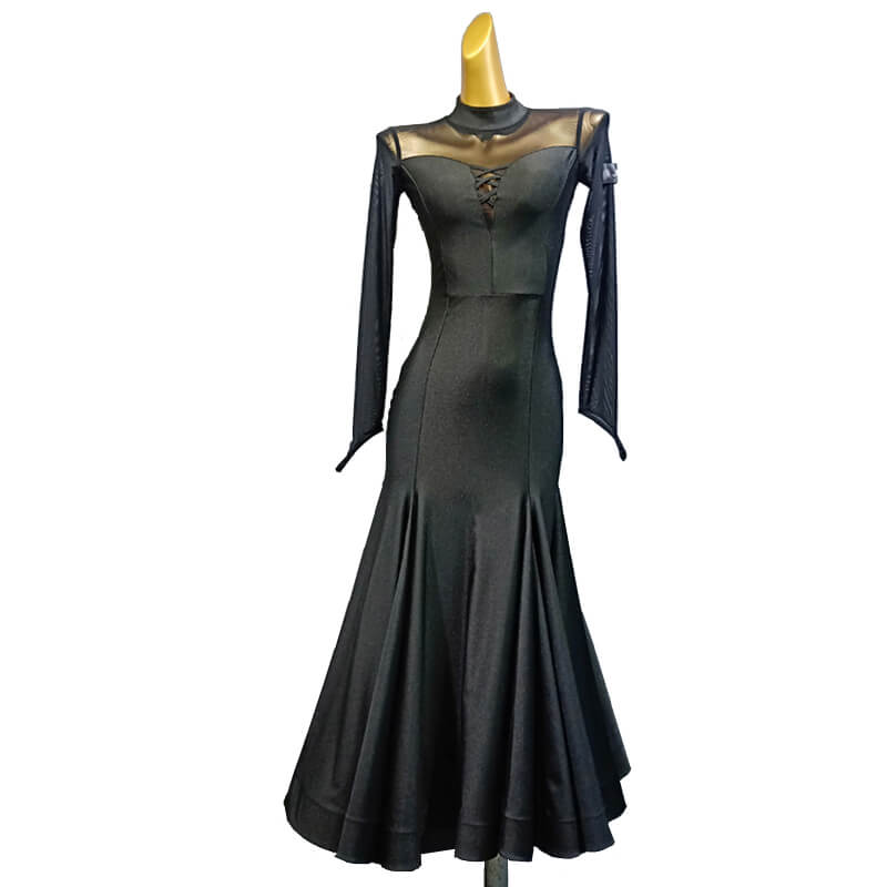 Fishtail Long Ballroom Dress with Mesh