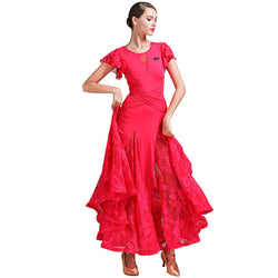 Flared Long Ballroom Dress with Lace