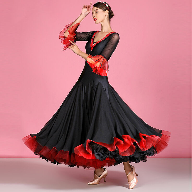 Flared Long Ballroom Dress with Rhinestones