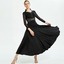 Draped Long Ballroom Dress with Glitter