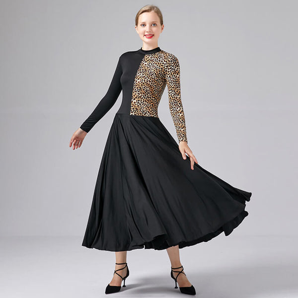 Leopard Flared Long Ballroom Dress