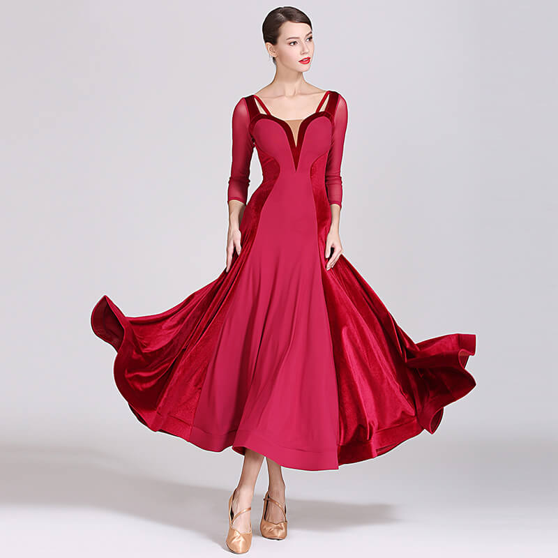 Draped Collarless Sheer Sleeve Dress