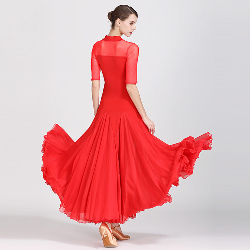 Feminine Long Ballroom Dress with Mesh