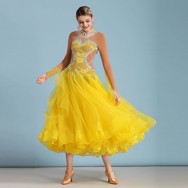 A-Line Ballroom Dress with Rhinestones