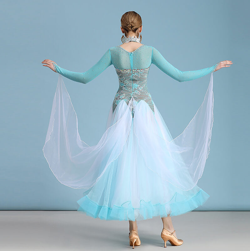 A-Line Long Ballroom Dress with Glitter