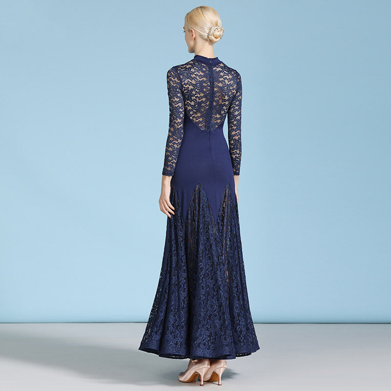 Flared Ballroom Dress with Lace