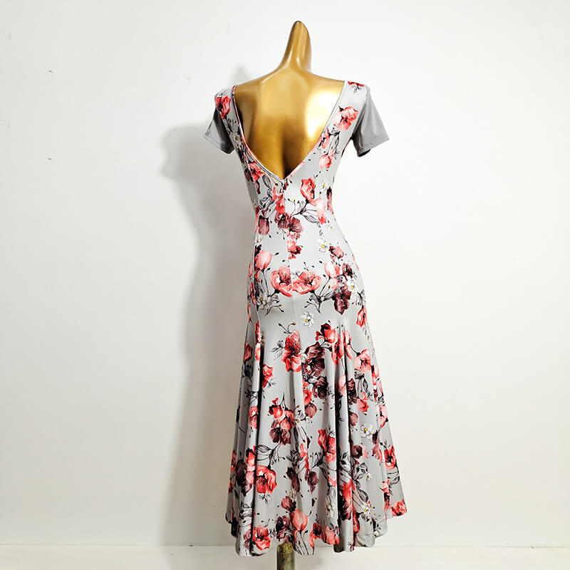Retro Floral Ballroom Dress