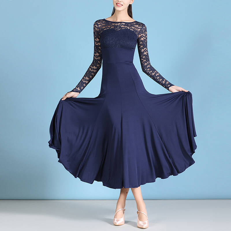 Crew Neck Classic Ballroom Dress with Lace