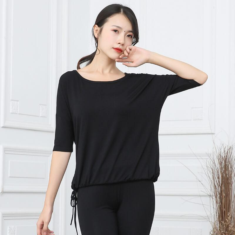 black half sleeve dance top