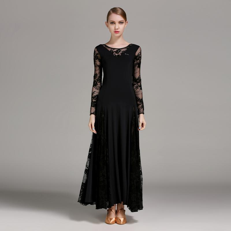 black lace ballroom dress