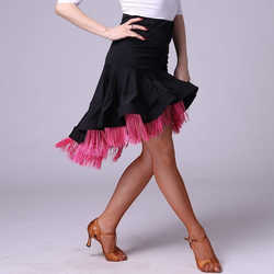 Asymmetric Short Sizzling Latin Skirt-pink