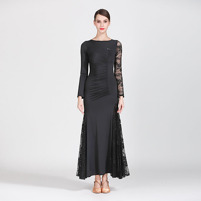 black shirring ballroom dress 1