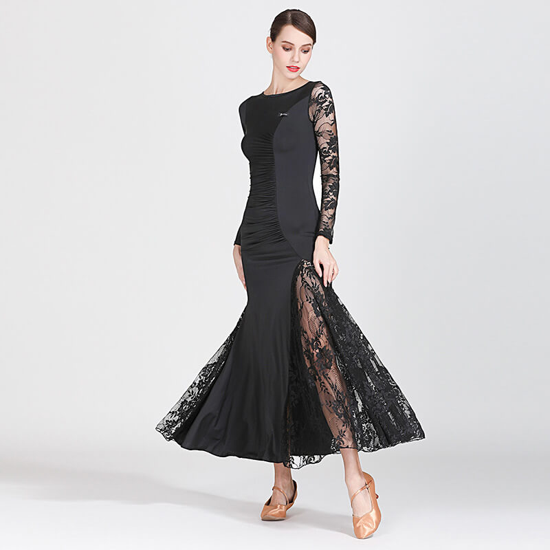 black shirring ballroom dress 2