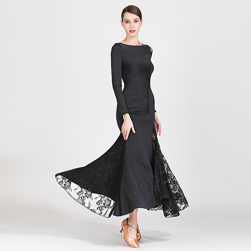 black shirring ballroom dress 3