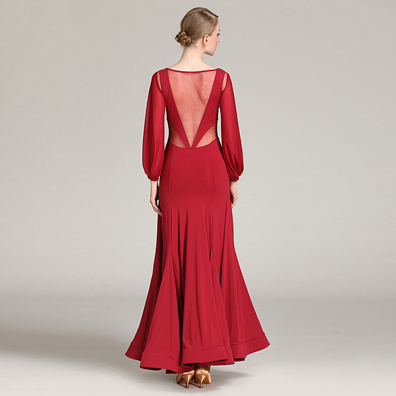 burgundy ballroom dance dress