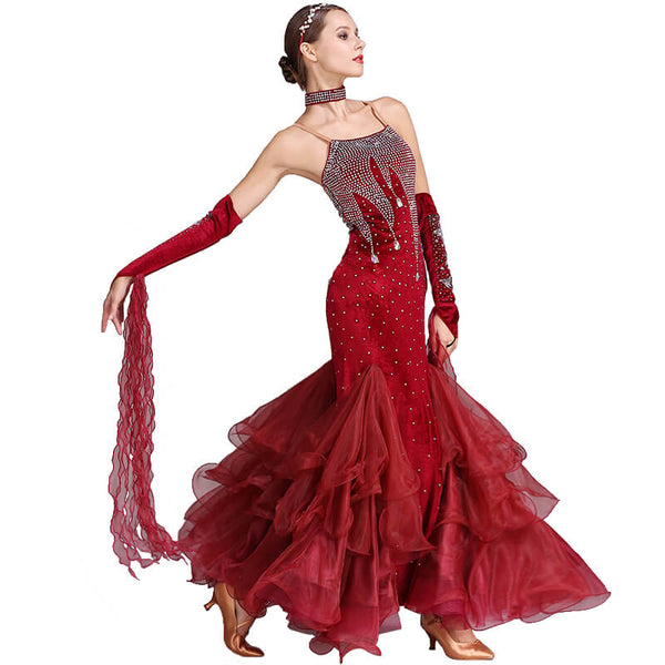 burgundy ballroom dress 1