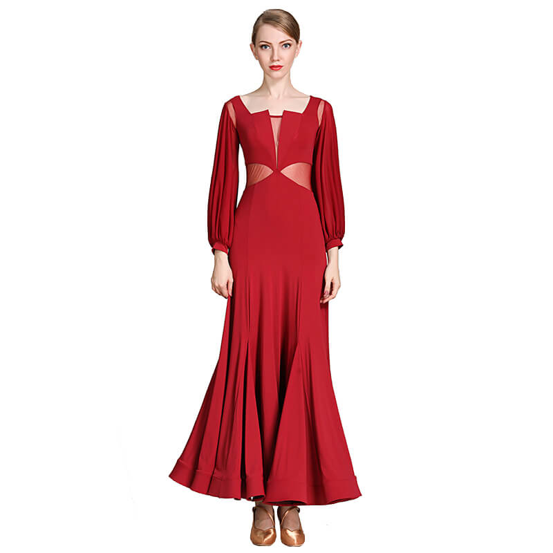 burgundy ballroom dress
