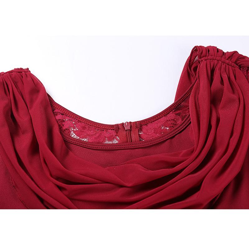 burgundy ballroom dress detail 8