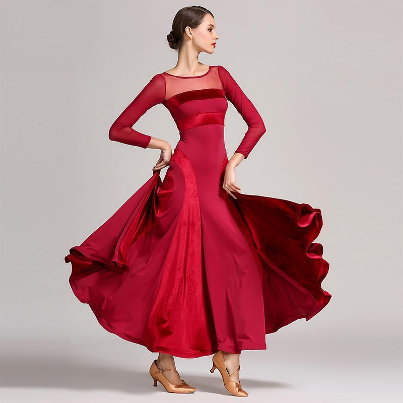 Ball Gown Maxi Ballroom Dress with Mesh-burgundy