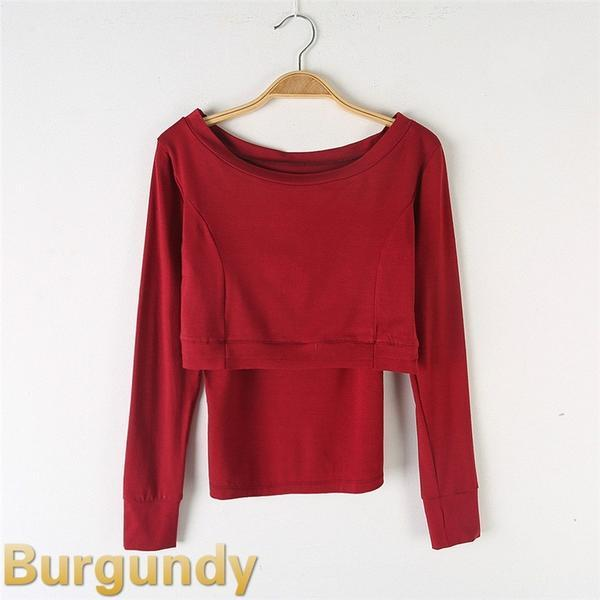 Round Neck Simple Contemporary Top-burgundy
