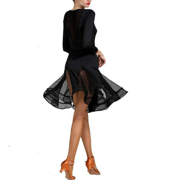 A-Line Round Neck Long Sleeve Dress (Leotard+ Skirt)