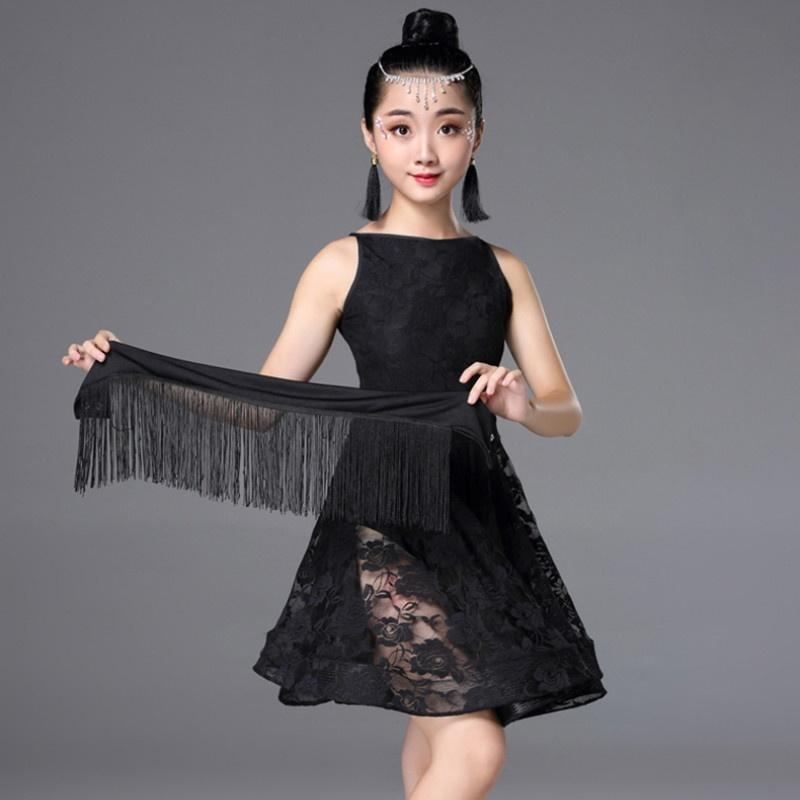 A-Line Short Latin Dress with Embroidery-Black