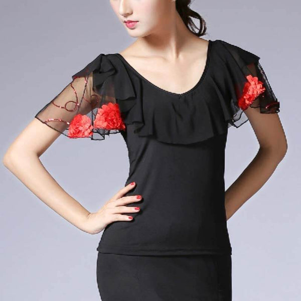 Round Neck Puff Sleeve Dance Top with Ruffles