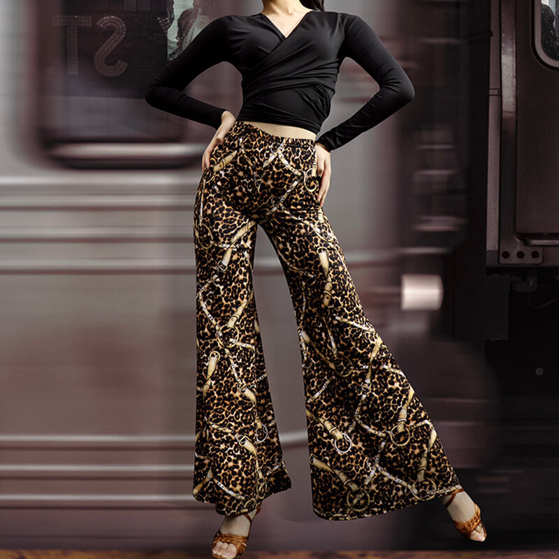 Leopard Print Bell Bottoms Latin Pants