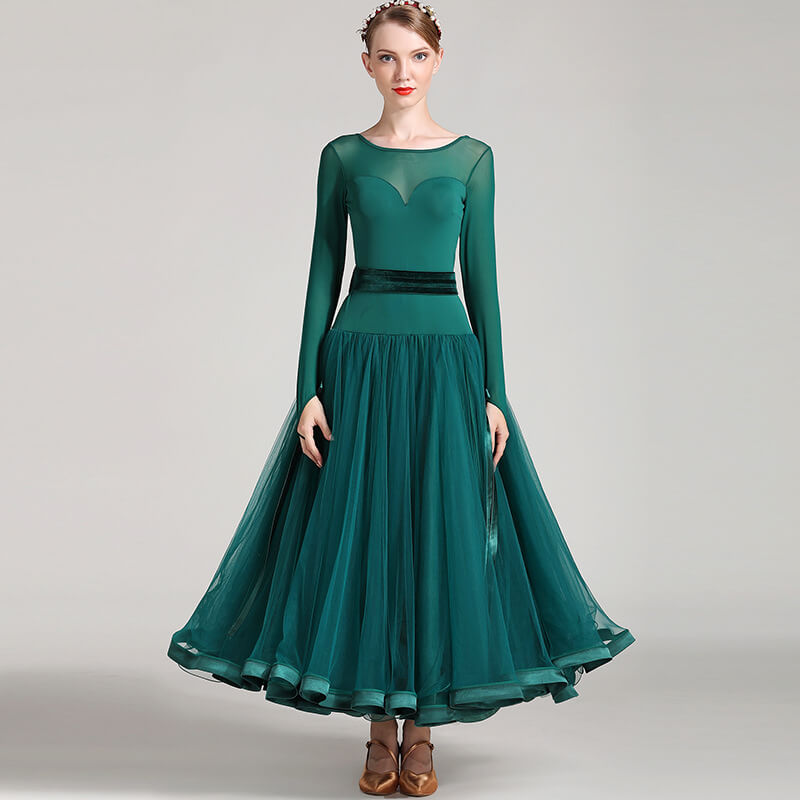 dark green ballroom dress