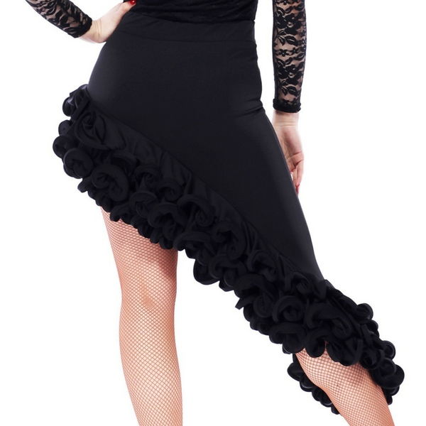 Wrap Short Latin Skirt with Ruffles-Black