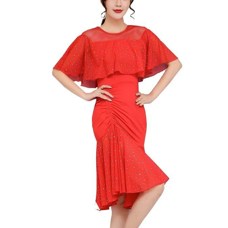 A-Line Boat Neck Ruffle Sleeve Dress