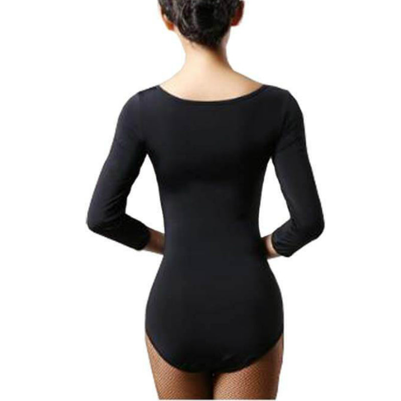 Boat Neck 3/4 Sleeve Dance Leotard with Cutouts