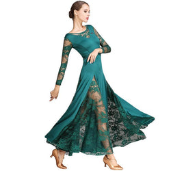 A-Line Maxi Ballroom Dress with Lace-Green