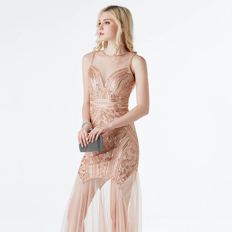 Pleated Long 1920s Dress with Mesh