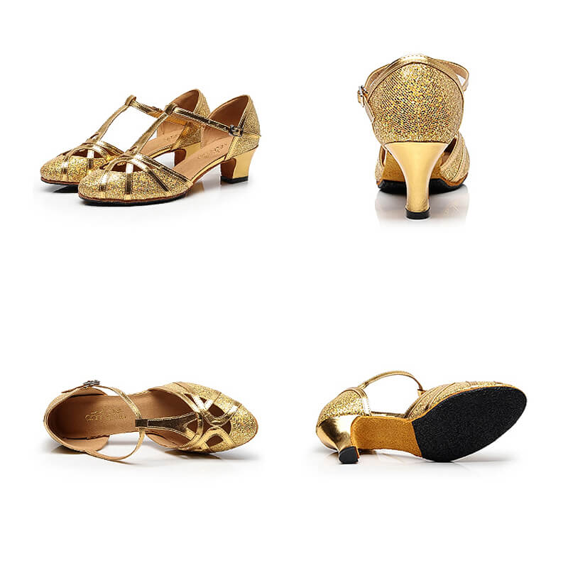 gold ballroom shoes