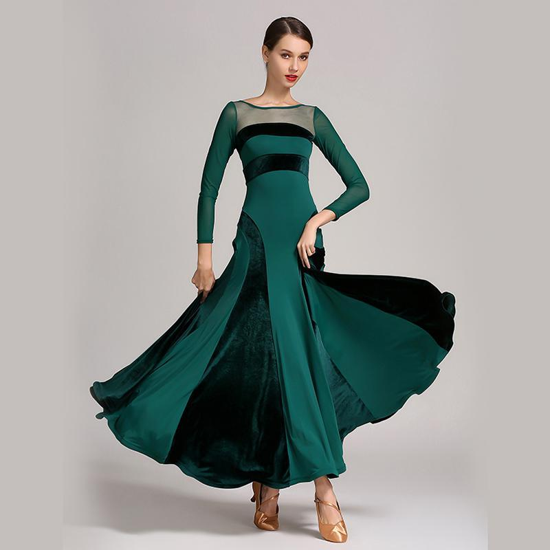 Ball Gown Maxi Ballroom Dress with Mesh-Green