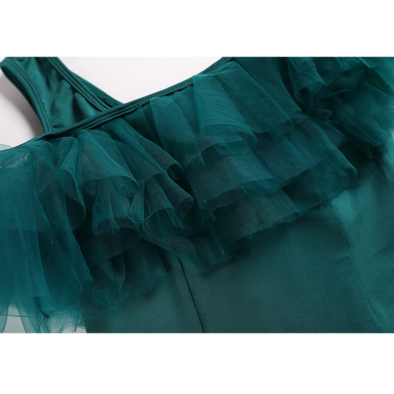 green ballroom dress details 3