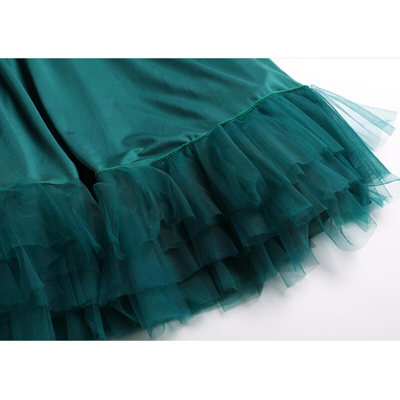 green ballroom dress details 5