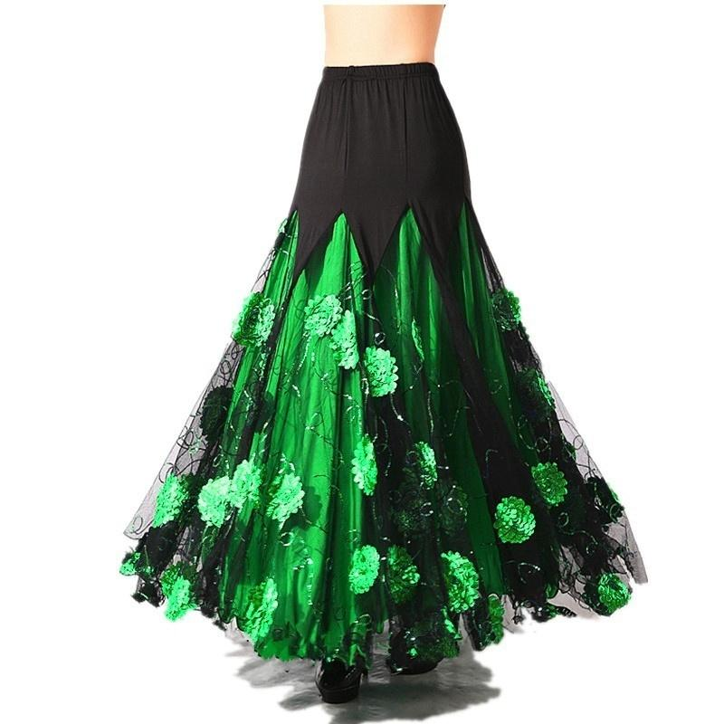 green ballroom skirt
