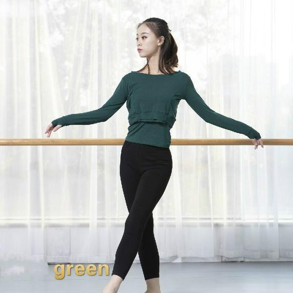 green contemporary dance tops