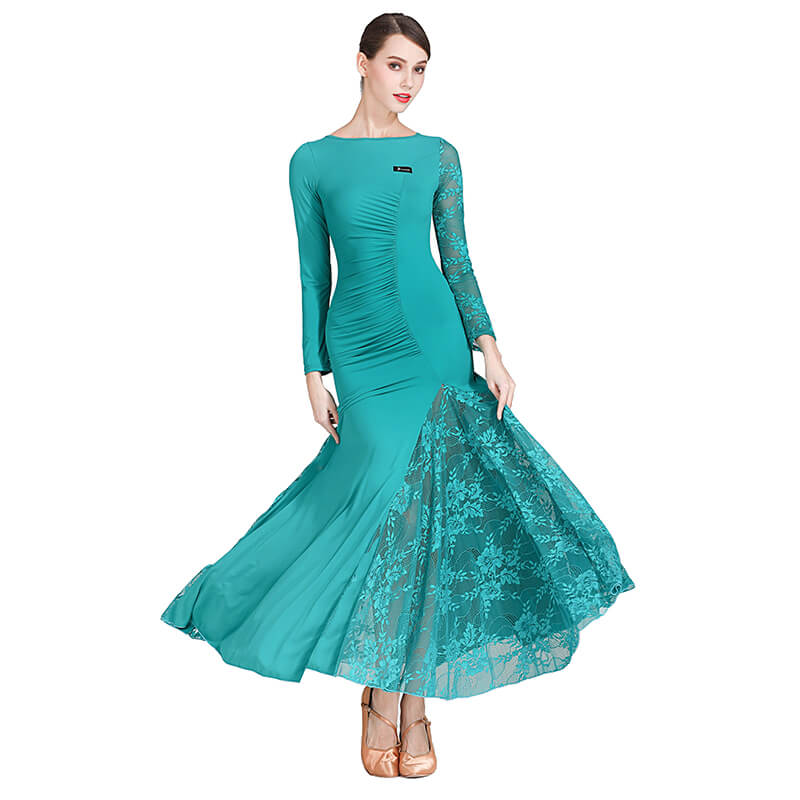 green shirring ballroom dress 1