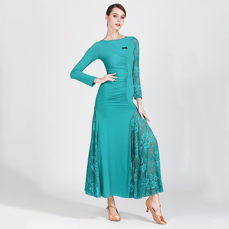 green shirring ballroom dress 2