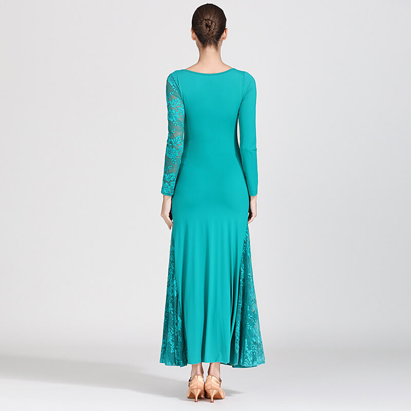 green shirring ballroom dress 3