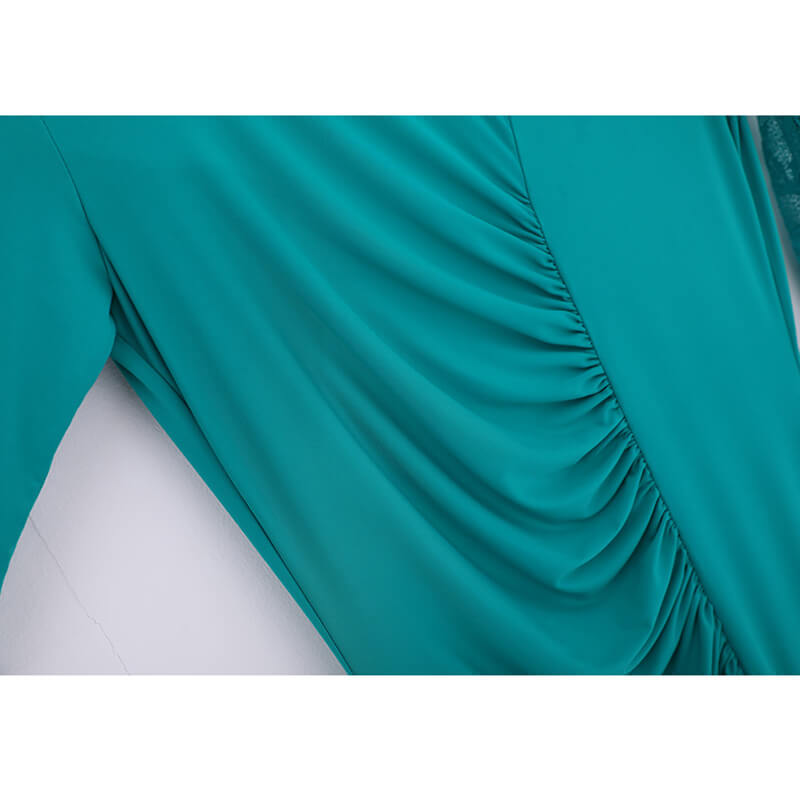 green shirring ballroom dress details 2