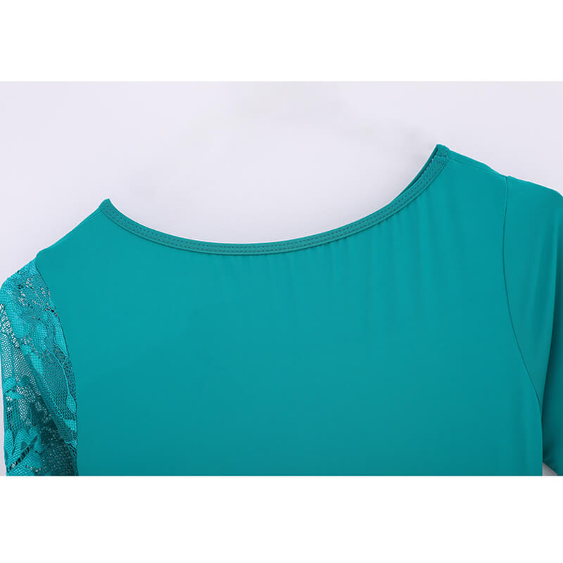 green shirring ballroom dress details 4