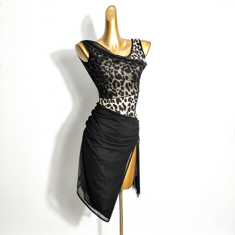 Asymmetric Leopard Latin Dress with Tassels