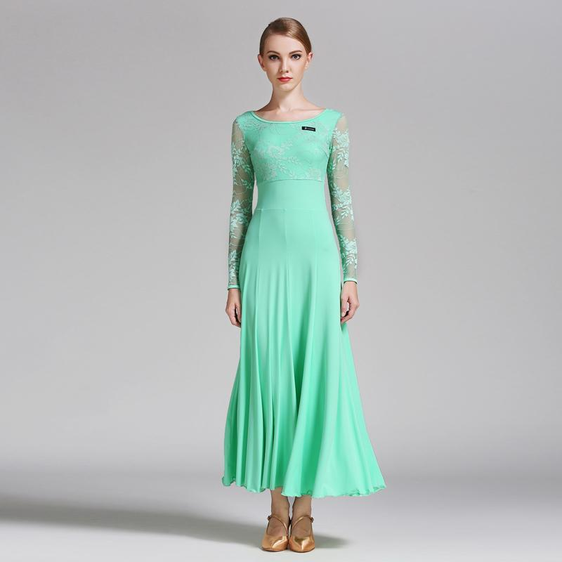 Empire Long Ballroom Dress with Lace-Light Green