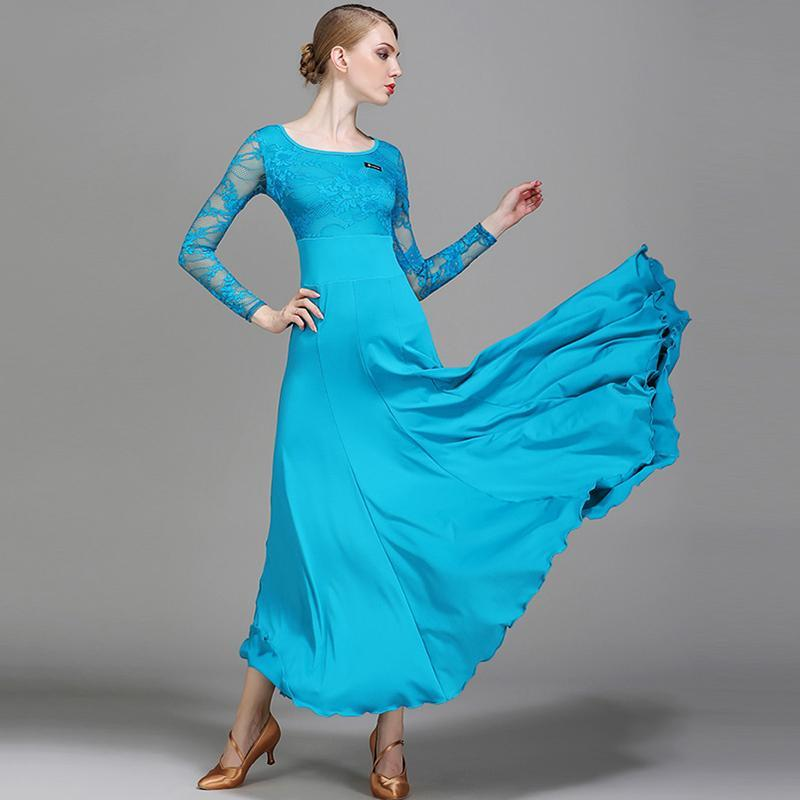 Empire Long Ballroom Dress with Lace-Peacock Blue